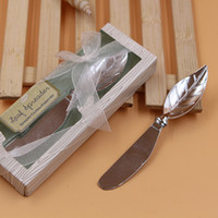 Wholesale Cake Knifes - Cake Cream Scrapers Creative Leaf Shape Pollisher Kitchen Tool Alloy Butter Knives Delicate Box Packing Wedding Party Favors Gift 3lw F R
