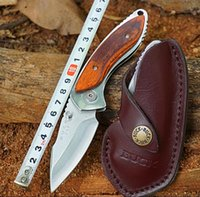 BUCK 271Tactical Hunting Knives 12C27M Steel Folding Blade Knife com Rosewood Handle Leather Sheath Outdoor Jackknife Survival Tools