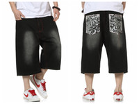 Wholesale jeans style for short men - Wholesale-Summer Style Hip Hop Baggy Loose Printed Pants for Men Denim Jeans Shorts Mens Shorts Plus Size 30-46 FS4941