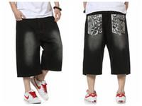 Wholesale Dark Jeans For Mens - Wholesale-Summer Style Hip Hop Baggy Loose Printed Pants for Men Denim Jeans Shorts Mens Shorts Plus Size 30-46 FS4941