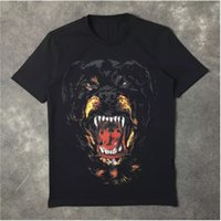 Wholesale dog t - New Fashion Rottweiler dog print High quality O-neck Black tee t shirts for men women cotton free shipping
