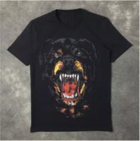 мужская одежда оптовых-Новая мода ротвейлер собака печати высокое качество O-образным вырезом черный тройник футболки для мужчин женщин хлопок бесплатная доставка