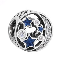 Wholesale Nights Zodiac - Authentic 925 Sterling Silver Bead Charm Openwork Love Heart Starry Night With Crystal Bead Fit Women Pandora Bracelet DIY Jewelry HKA3672