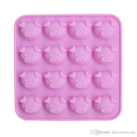 Wholesale Pig Kitchen - 1x New Kitchen Silicone chocolate mold,cookies mold,3D 16 Pig head Shape Fondant Cake baking Tools,Cake Decorating Free shipping