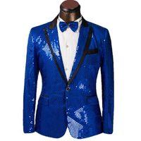 Wholesale Silk Suits 46 - Fashion groom suit One Button Blue Groom Tuxedos Groomsmen latest Men Wedding Prom Suits mens sequin jacket (Jacket+Pants
