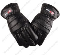 Wholesale cold winter gloves - Factory Direct Sale Cotton Thick Leather PU Imitation Cowhide Male Winter Gloves Anti Wind Cold Motorcycle Fingers Gloves