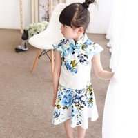 Wholesale Cheongsam Dress For Girls - Cute Cotton Girls Cheongsam Summer Princess Dresses for 5-14 Years Children Chinese Beauty Chi-Pao Tang Suits New Year Dress