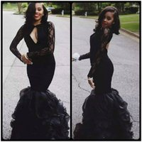 Wholesale making out hot - Hottest 2018 Black Mermaid Prom Dresses Slim Lace Long Sleeves Hollow Out Sexy Open Back Evening Gowns Draped Organza Vestidos De Soiree