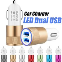 Wholesale Charger Universal - For Iphone 6 Travel Adapter Metal Car Charger 2 Ports Colorful Micro USB Car Plug USB Adapter For Iphone 6 Iphone 6 Plus OPP Package