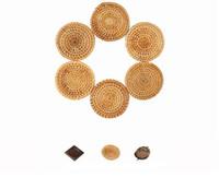 Wholesale Metal Rattan - Creative handmade bamboo rattan tea cup mat Simple style solid wood insulation pad Metal tea cup mat