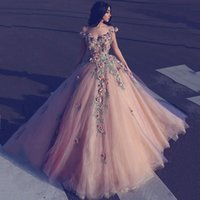 Wholesale Elie Saab Flower Dress - 2017 New Long Evening Gowns Elie Saab Off Shoulder Prom Dress Floor Length Appliqued Runway Fashion Dresses