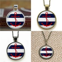 Wholesale nautical link necklace resale online - 10pcs Red Anchor Nautical Glass Photo Necklace keyring bookmark cufflink earring bracelet