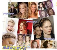 Wholesale Princess Hair Weave - Fashion wig braided hair hoop hair band Elastic twist woven headband The princess hair band