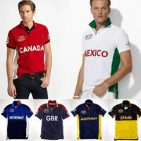 Wholesale Polo Sports Wear - Men's Sports Polo Tops Sailing Race Wear Embroidery Flag Country Name Short Sleeves Casual Polos Turn Neck