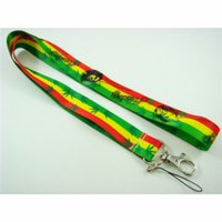 "Wholesale bob strap - Free shiping wholesale 20pcs Bob Marley Rasta (Green, Yellow, Red) 18"" lanyard Mobile Phone Accessories Mobile Phone Straps Keychain"