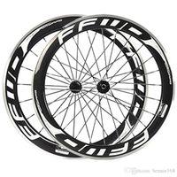 carbon fahrrad räder legierung bremsfläche großhandel-60mm FFWD Fast Forward Weiß Decals Carbon Räder mit Alloy Bremsfläche 3K Clincher Full Carbon Fahrrad Wheelset Novatec 271/372 Hub