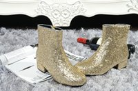 Zapatos Mujer Argent Or Glittered Cheville Bottes Confort Bas Talons Femmes Bottes Mode Street Style Short Booties Plus La Taille 42-45