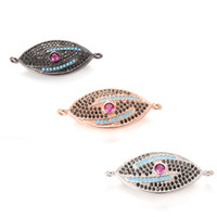 Wholesale Metal Stamping Craft - 3 Color Evil Eye Jewelry Fingdings Components Metal Stamping Crafted Connector in Stock, ICSP083, Size30.3*12.9mm