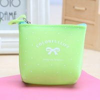 Wholesale Cute Zip Wallets - Wholesale- DreamShining Women Candy Colors Coin Purse Cute Bow Ms. Clutch Money Wallets Silicone Jelly Zip Key Holder Business Card Handbag