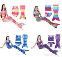 Wholesale Rainbow Tail Cosplay - cheapest Rainbow color Dot Set Swimwear Swimsuit Swim Cosplay Costume New Kids Girls Swimming Mermaid Tail Bikini 3pcs set 30 designs