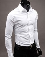 Wholesale Wholesale Mens Casual Clothing - Wholesale- Solid Color Black Brand-clothing Camisa Social Masculina Long Sleeve Chemise Homme Slim Fit Men Shirt Business Casual Mens Shirt