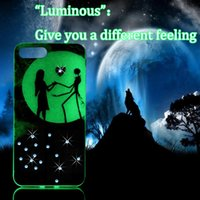 Wholesale Iphone 5s Soft Design - moonshine lovers design Luminous Fluorescence Crystal rhinestone TPU soft shell Case cover for iphone 5 5s 6 6s 7 7 plus for women