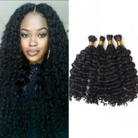 Wholesale human braiding hair deep wave for sale - 4 Bundles Deep Wave Bulk Human Hair No Weft Natural Color Curly Peruvian Braiding Hair Bulk for Black Women FDSHINE