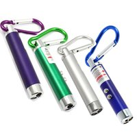 Wholesale Led Keychain Pcs - 4 PCS Powerful 5mW 2 in 1 Mini Red Laser Pointer 2 LED Flashlight UV Torch With Keychain Cash-Check Function Free Shipping