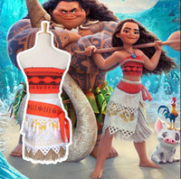 Wholesale Lace Petti Kids - princess Moana Cosplay Costume Dress halloween 4pcs  1SET Coat Belt Grass skirt Petti Skirt Adult Kids Cosplay dress KKA2333