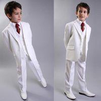 Wholesale Kids Zipper Ties - Wholesale- New Arrival Two Button White Kids Tuxedos Handsome Primary Scholar Business Suits Boy Prom Suits (Jacket+Pants+Vest+Tie) K:683