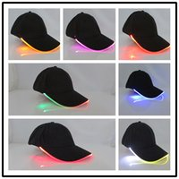 Wholesale Christmas Lights Hat - 2016 Vogue of new fund of luminous cap LED baseball hat Optical fiber light-emitting hat cool run tourism sun hat Christmas gift