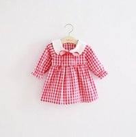 Wholesale Doll Collar Dress Sleeve - 3 color INS styles new arrival Girl dress kids summer 100% cotton Doll Collar frenulum Plaid Dress girl casual elegant dress free shipping