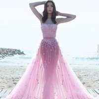 Wholesale Prom Fantasies - Pink Tulle A-Line Prom Dresses With Glamorous Floral-Appliques Simple Fashion Strapless Sleeveless Party Dresses Fantasy Pretty Evening Gown