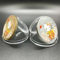 Wholesale Rare Metal Coin - 100 pcs Rare 40th anniversary of Japanese cartoon animal Kitty cat gold silver gold plated colored souvenir coin set