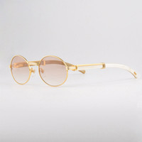 Wholesale Sunglasses Glasses Gold Men - Luxury Buffalo Sun Glasses Men Women Buffalo Horn in Sunglasses 18k Gold Brand Vintage Sunglasses Unisex with Case CT55 22