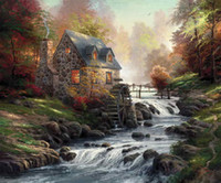 Wholesale modern art oil paintings online - Cobblestone Mill Thomas Kinkade Oil Paintings Art Wall Modern HD Print On Canvas Decoration No Frame