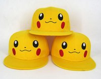 Wholesale Girls Fancy Summer Hats - Anime Pikachu baseball Cap Fancy Costume Hat Unisex adult kids cartoon Sun Hats Cosplay performance props XMAS gift Yellow 2 sizes