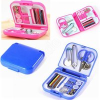 Wholesale Portable Travel Sewing Kit Thread Needles Mini Plastic Case Scissors Tape Pins Thread Threader Set Home Sewing Tools RRA6