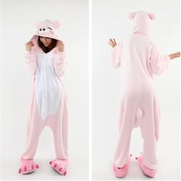 Wholesale Pig Adult Onesie - Lovely Pig Unisex Adult Home Rabbit Pajamas Kigurumi Cosplay Costume Onesie 2017 Cartoon Flannel Annimal Onesie Sleepwear Stock Cheap