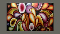 Wholesale Huge Painted Nudes - 100% Handmade Huge Modern Wall Art Rainbow Colorful Abstract Oil Painting Contemporary Home Decoration on Canvas for living Decor Fsh1015