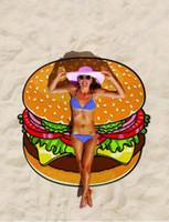ingrosso grande arazzo-Asciugamano da spiaggia rotondo Hamburger da spiaggia stampato 150cm Asciugamano da bagno grande di nuoto Mandala Indian Tapestry Beach Asciugamani da spiaggia Coperta da picnic all'aperto