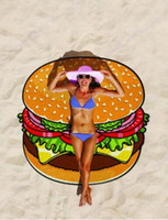 Wholesale Outdoor Picnic Blanket - Round Beach Towel Pizza Hamburger Printed 150cm Large Swimming Bath Towel Mandala Indian Tapestry Beach Throw Towels Outdoor Picnic Blanket