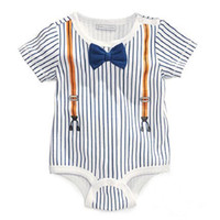 Wholesale Short Sleeve Formal Romper - Wholesale- Top Quality Retail One-Pieces Baby Boy Gentleman Romper White short Sleeve Baby Next Baby Newborn Clothes Body