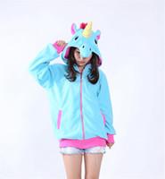 Wholesale Side Zip Hoodie Jacket - HappyBuy Rainbow Pony Adult Unisex Costumes Side Pockets Hoodie Zip Closure Animal Costume Hooded jacket Kigurumi Cardigan Hoodies