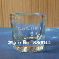 Wholesale Arcylic Cups - Wholesale- 2PCS   Lot Glass Crystal Bowl Cup Dappen Dish Arcylic Liquid Powder Holder Container Tool Nail Art Manicure Salon