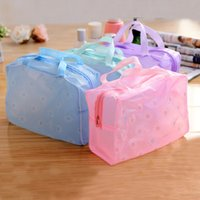 Wholesale outdoor bath bag for sale - Group buy New Fashion woman Outdoor Travel Floral Transparent Waterproof Cosmetic Washing Bathing Bag