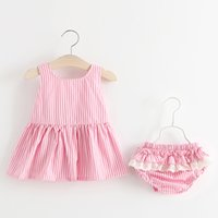 Wholesale Dress Baby Cute Princess - 2017 Baby Girls Clothing Set Korean Princess Infant Clothes New Summer Kids Outfits Stripe Bow Dress + Lace Ruffle Shorts 2pcs Suits C1266