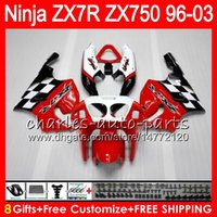 Wholesale 1996 Zx7r Red - 8Gifts 23Colors For KAWASAKI NINJA ZX7R 96 97 98 99 00 01 02 03 18HM15 red black ZX750 ZX 7R ZX-7R 1996 1997 1998 1999 2000 2003 Fairing