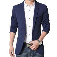 свадебные платья куртки плюс размер оптовых-Оптовая продажа-мужская корейский slim fit повседневная хлопок пиджак Пиджак черный синий бежевый плюс размер M до 5XL мужской пиджаки Мужские пальто свадебное платье