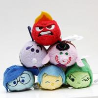 Wholesale Push Keychain - Tsum Tsum Inside Out cartoon plush toys sadness disgust charem anger joy cute mini screen cleaner dolls keychain pendant toy